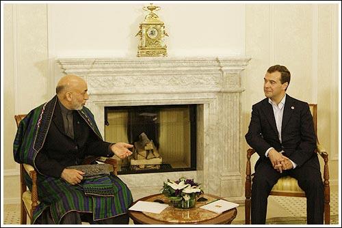 Дмитрий Медведев с Президентом Исламской Республики Афганистан Хамидом Карзаем